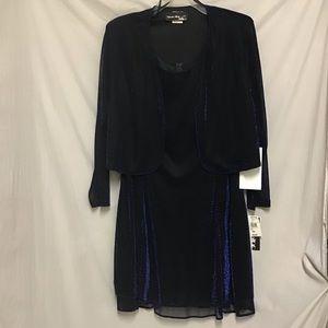 Blue Sparkly 2-Piece Dress/Crop Jacket